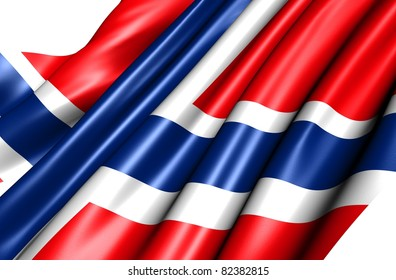 Flag of Norway against white background. Close up.