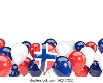 Flag of norway, with balloons isolated on white. 3D illustration
