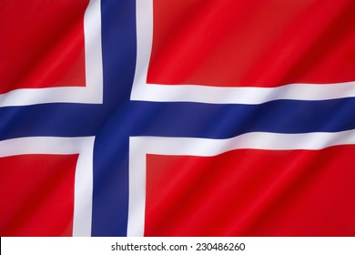 Flag of Norway - The flag of Norway is a blue Scandinavian cross over the Dannebrog, the flag of Denmark. Adopted as the national flag of Norway on 13th July 1821.