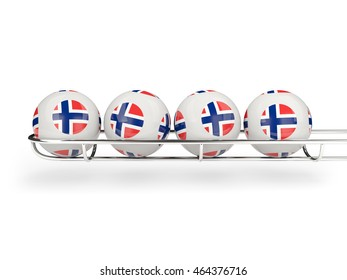 Flag of norway on lottery balls. 3D illustration