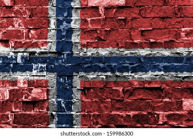 Flag of Norway painted on brick wall