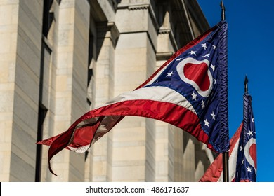 Flag of Ohio Flutters Before the State House During Daytime in Columbus OH - September 19, 2016