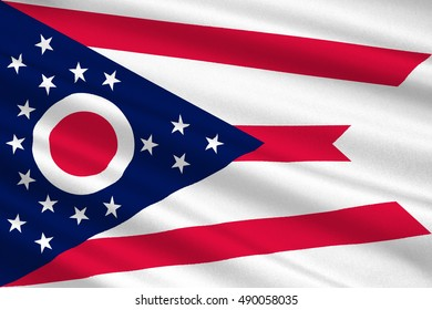 Flag of Ohio is a state of United States. 3D illustration