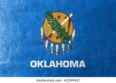 Flag of Oklahoma State, painted on leather texture