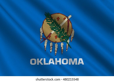 Flag of Oklahoma is a state in United States. 3D illustration
