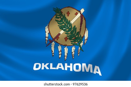 Flag of Oklahoma waving in the wind detail