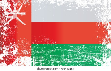 Flag of Oman, Sultanate of Oman. Wrinkled dirty spots. Can be used for design, stickers, souvenirs