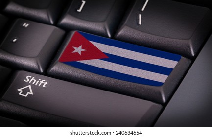 Flag on button keyboard, flag of Cuba