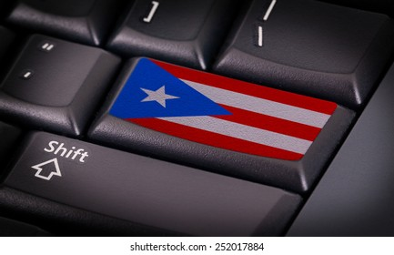 Flag on button keyboard, flag of Puerto Rico