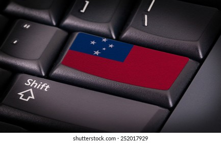 Flag on button keyboard, flag of Samoa