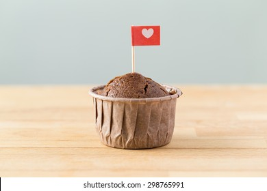 Flag on muffin with a heart shape