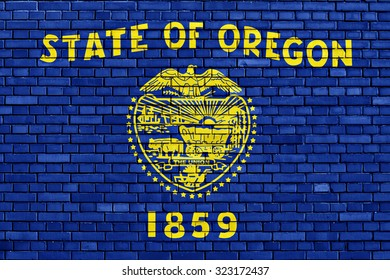flag of Oregon painted on brick wall