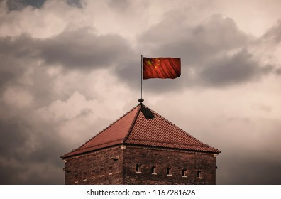 Flag with original proportions. Flag of the China