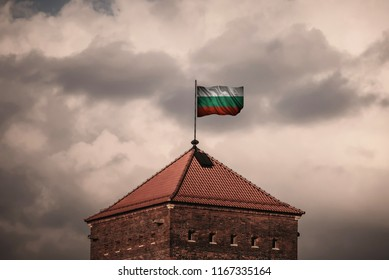 Flag with original proportions. Closeup of grunge flag of Bulgaria