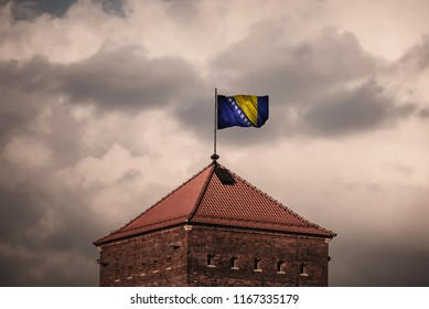 Flag with original proportions. Closeup of grunge flag of Bosnia and_Herzegovina