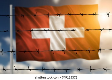 Flag with original proportions. Closeup of grunge flag of Switzerland