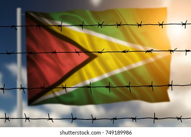 Flag with original proportions. Closeup of grunge flag of Guyana
