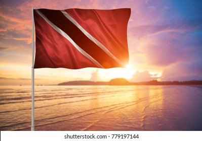 Flag with original proportions. Closeup of grunge flag of Trinidad and Tobago