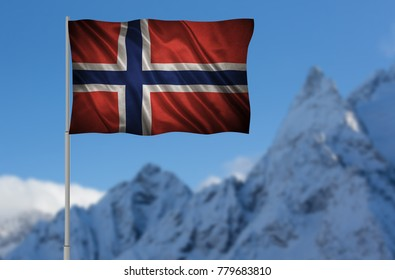 Flag with original proportions. Closeup of grunge flag of Norway