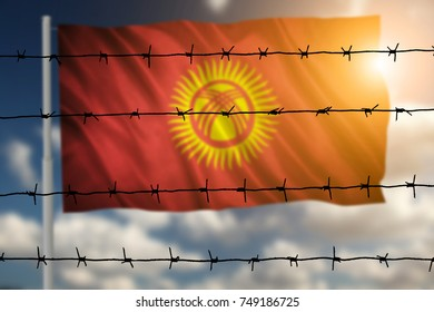 Flag with original proportions. Flag of the Kyrgyzstan