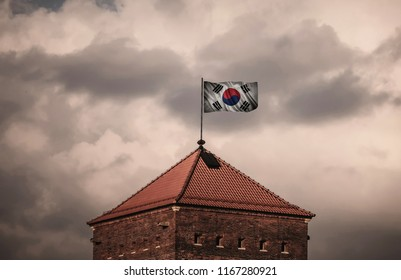 Flag with original proportions. Flag of the South Korea