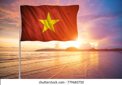 Flag with original proportions. Flag of the Vietnam