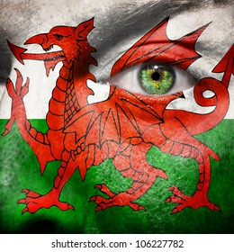 Flag painted on face with green eye to show Wales support