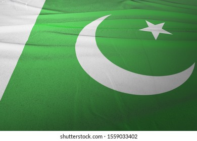 Flag of Pakistan cloth fabric. National Flag of Pakistan for Independence day.