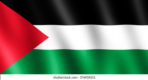 Flag of Palestine waving in the wind giving an undulating texture of folds in the fabric. The Image is in the official ratio of the flag - 1:2.