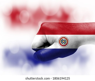 Flag of Paraguay painted on male fist, strength,power,concept of conflict. On a blurred background.