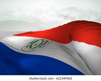 Flag of Paraguay shot while waving elegantly over an abstract sky.3D Rendering
