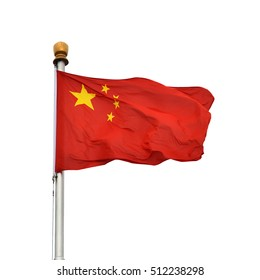 The flag of the People's Republic of China isolated on a white background.