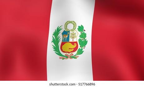 Flag Peru, fluttering in the wind. 3D rendering.