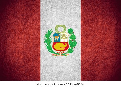 flag of Peru or Peruvian banner on rough pattern texture