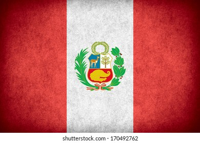 flag of Peru or Peruvian banner on paper rough pattern texture
