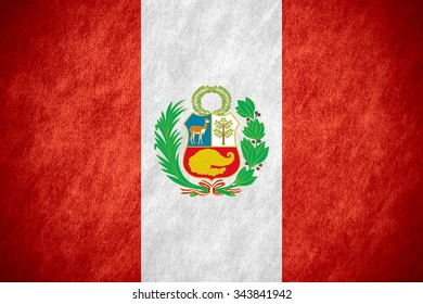 flag of Peru or Peruvian banner on canvas texture