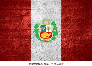 flag of Peru or Peruvian banner on rough texture