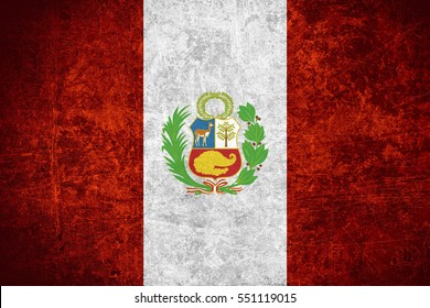 flag of Peru or Peruvian banner on scratched vintage texture