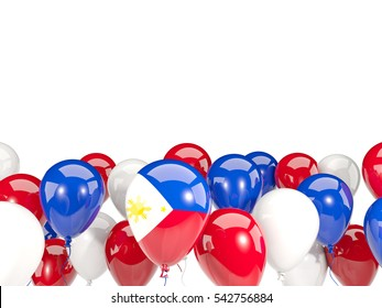 Flag of philippines, with balloons isolated on white. 3D illustration