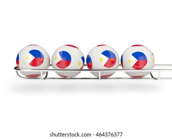 Flag of philippines on lottery balls. 3D illustration
