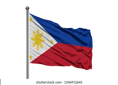 Flag of Philippines waving in the wind, isolated white background. Philippine flag.