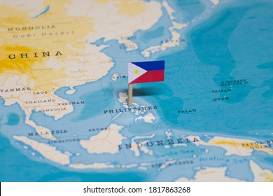 The Flag of Philippines in the World Map