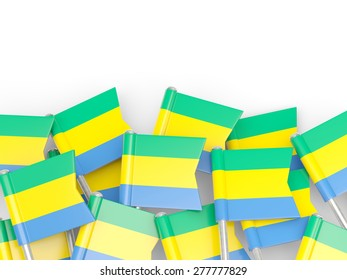 Flag pin of gabon isolated on white