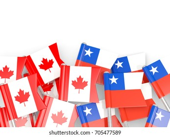 Flag pins of Canada and Chile isolated on white. 3D illustration