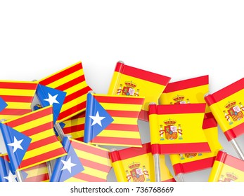 Flag pins of Catalonia and Spain isolated on white. 3D illustration