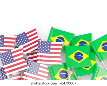 Flag pins of USA and Brazil isolated on white. 3D illustration