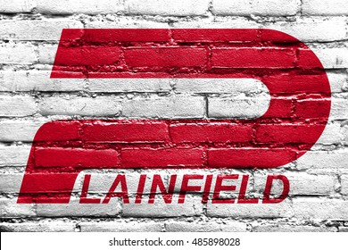 Flag of Plainfield, Indiana, USA, painted on brick wall
