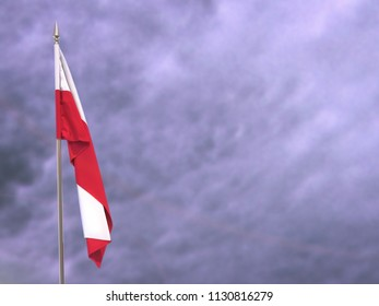 Flag of Poland hanging down dangling