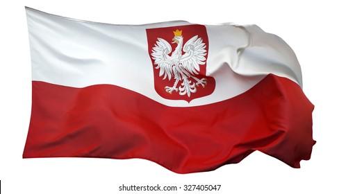 Flag of Poland, isolated on white background