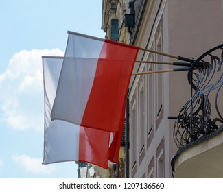 Flag of Poland on a Balcony, Polish Flag on a Balcony Shallow Depth of Field